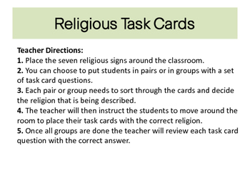 Buddhism, Islam and more Religous task cards