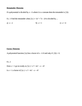 Remainder Thm, Factor Thm and Multiplicity of a function
