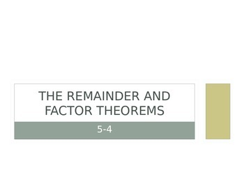 Remainder and Factor Theorems