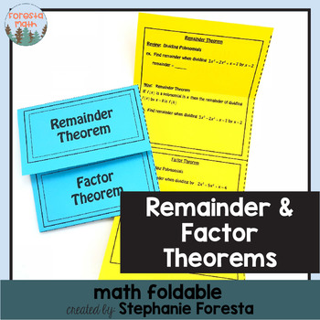 Remainder and Factor Theorems Foldable