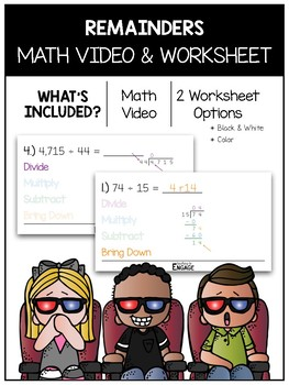 Remainders Math Video and Worksheet
