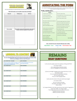 Remains - Simon Armitage - Comprehension Activities Booklet!