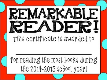 """""""Remarkable Reader"""" Award"""