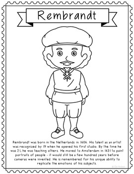 rembrandt famous artist informational text coloring page craft or poster