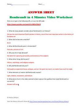 Rembrandt in 4 Minutes Video Worksheet