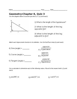 Remedial Geometry Quiz-Basic Trigonometry