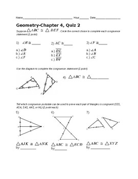 Remedial Geometry Quiz-Congruent Triangles, Isosceles Triangle Theorem