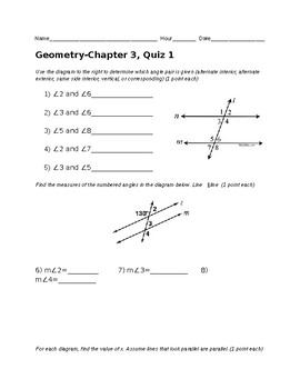 Remedial Geometry Quiz-Parallel Lines and Transversals