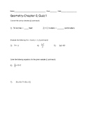 Remedial Geometry Quiz-Prerequisites
