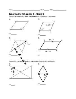 Remedial Geometry Quiz-Properties of Quadrilaterals