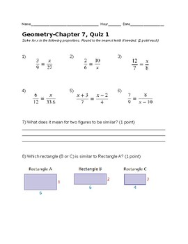 Remedial Geometry Quiz-Proportions and Similar Figures