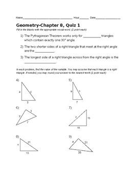 Remedial Geometry Quiz-Pythagorean Theorem