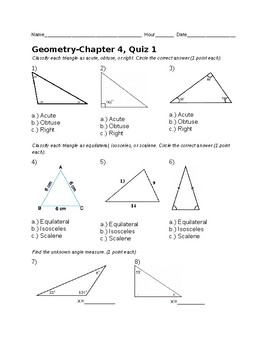 Remedial Geometry Quiz-Types of Triangles, Angle Sum of Triangles