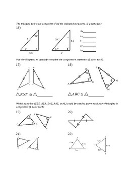 Remedial Geometry Test-Classifying Triangles, Congruent Figures, Transformations