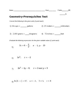 Remedial Geometry Test-Prerequisites