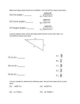 Remedial Geometry Test-Pythagorean Theorem and Basic Trigonometry