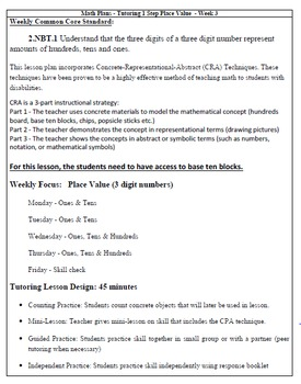 Remediation Weekly Lesson Plan & Practice: Place Value (week 3)