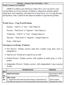Remediation Weekly Lesson Plan & Practice:Word Problems -1 step(week 2)