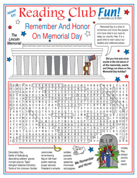 Remember On Memorial Day Word Search Puzzle