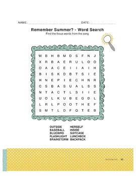 Remember Summer? (compund words) - use for Language Arts & ESL & SEL