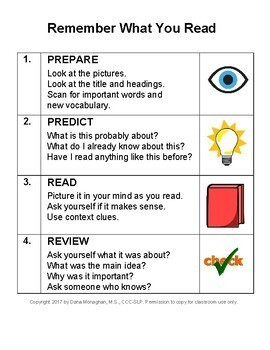 Remember What You Read-Visual Strategy, Poster and Prompt Card