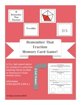 3rd/4th Grade CCSS Aligned Math- Remember that Fraction! Card Game