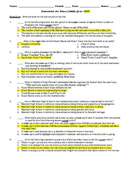 Remember the Titans Film (2000) 15-Question Multiple Choice Quiz