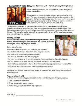 Remember The Titans Teaching Resources  Teachers Pay Teachers  Remember The Titans Movie Writing Prompt Tolerance Activity   Best English Essays also Best Essay Topics For High School  Business Plan Buy To Let