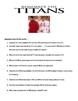 Remember the Titans - Questions