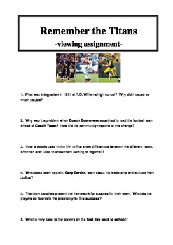 Remember The Titans Teaching Resources  Teachers Pay Teachers  Remember The Titans Viewing Questions Assignment And Rubric   Business Plan Writers San Jose Ca also Essay On The Yellow Wallpaper  Buy Online College Assignments And Projects