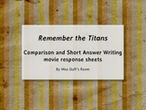 Remember the Titans movie response sheets