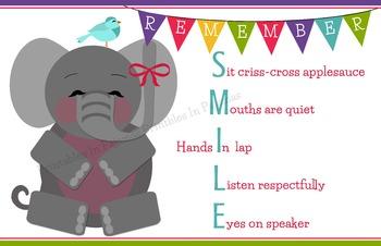 Remember to SMILE Elephant Behavior Poster