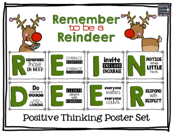 Remember to be a Reindeer: Positive Thinking Poster Set