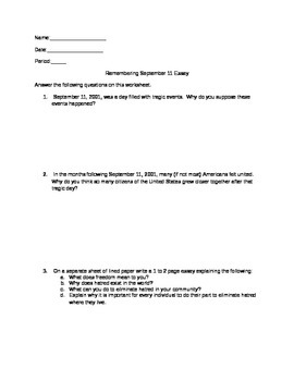 Remembering 9-11 Worksheet