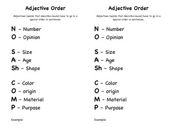 Remembering Adjective Order!