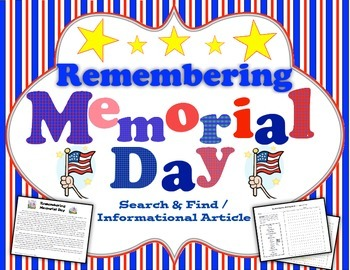 Remembering Memorial Day Search and Find
