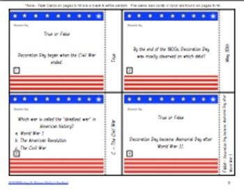 Remembering Memorial Day Task Cards