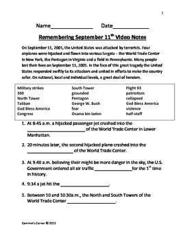 Remembering September 11th Video Notes- Schlessinger Media