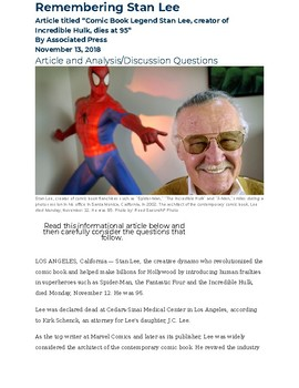 Remembering Stan Lee: Informational Text with Analysis/Discussion Questions