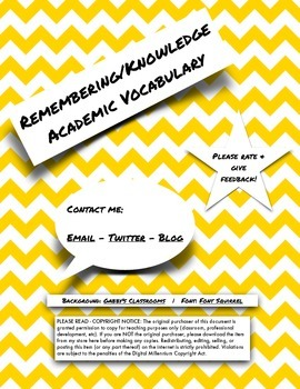 Remembering/Knowing Academic Vocabulary