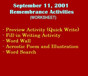 Remembrance Activities for September 11, 2001 (worksheet) (writing and more)