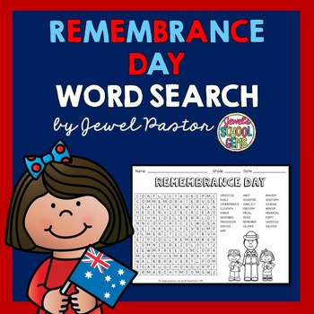 Remembrance Day Activities (Remembrance Day Word Search)