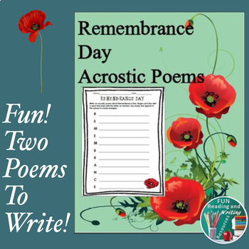 Remembrance Day Acrostic Poems By Fun Reading And Writing
