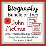 Remembrance Day BUNDLE John McCrae Biography Resources Grades 4-9