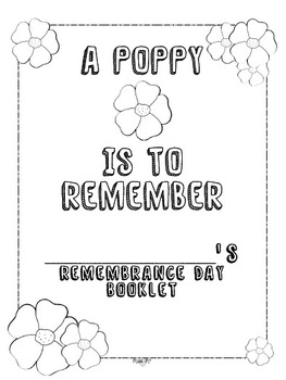 Remembrance Day Booklet (Canadian) A Poppy is to Remember