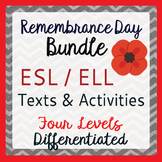Remembrance Day Canada ESL ELD Differentiated BUNDLE 4 Resources