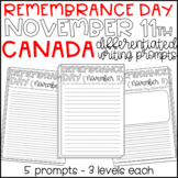 Remembrance Day Canada November 11th - Differentiated Writing Prompts