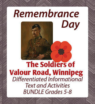 Remembrance Day Canadian History Bundle of 4 Differentiated Resources Grades 5-8