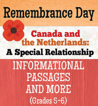 Remembrance Day Canadian History Canada and the Netherlands BUNDLE Gr 5-8