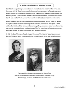 Remembrance Day Canadian History The Soldiers of Valour Road, Winnipeg Gr. 5-6